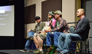 From left, cultivators Shane Yoakam, Ray Bowser III, Mike Cawley and Jon Hudnall discuss creating craft, boutique cannabis at the recent CannaGrow Expo. (Photo: Mark Somple)